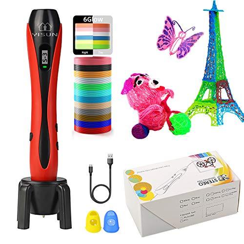 YISUN Penna di Stampa 3D per Bambini con Indicatore di velocità LCD, Strumento di Disegno per Stampa Manuale a Filamento PLA/ABS, Cavo di Alimentazione USB da 120 cm, Protezioni per Le Dita