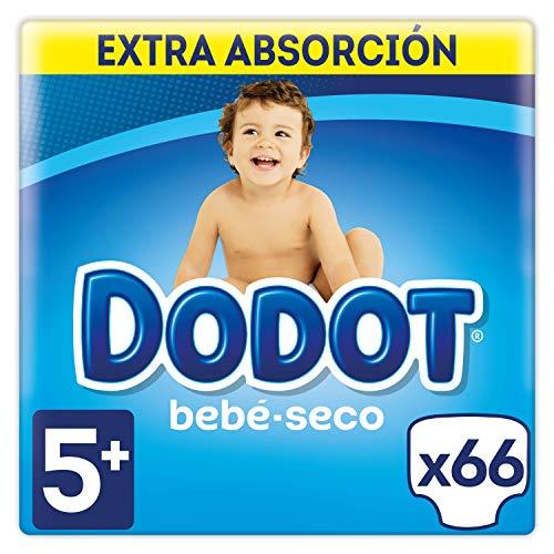 Dodot Bebé-Seco Pañales Talla 5+, 66 Pañales, con Canales de Aire