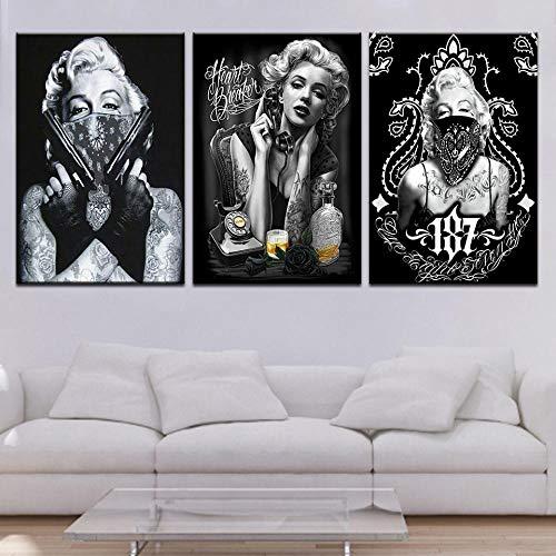 Marilyn Monroe Tattoo SchwarzweissPop Art Poster Sexy Portrait Wand 3 Panel Dekor für Büro - 60cm x 90cm 3pcs No Frame
