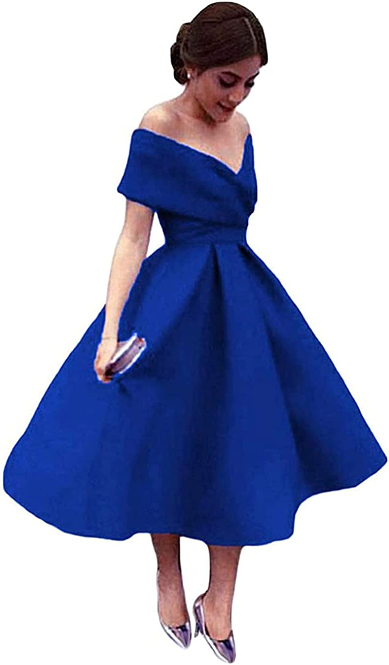 Awishwill Women's V Neck Short Bridesmaid Dresses with Pockets A-line Off Shoulder Party Formal Dress