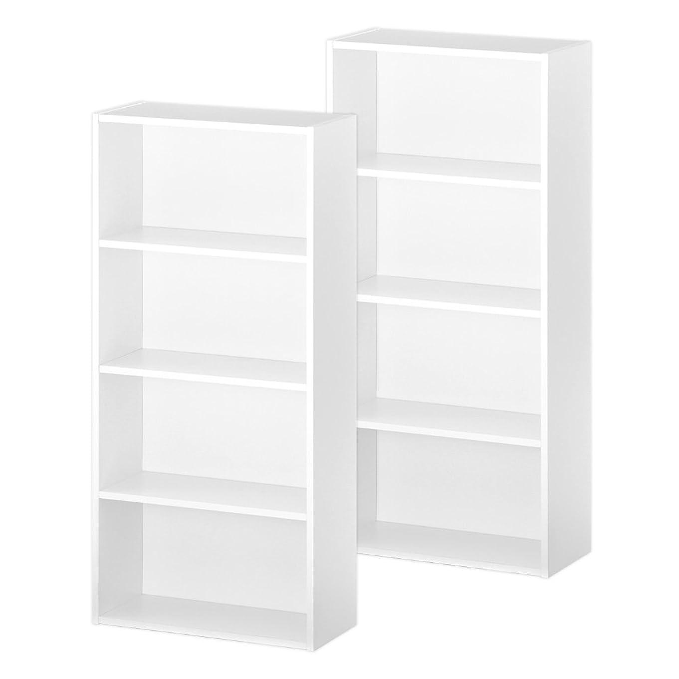 支出閲覧する満了ぼん家具 カラーボックス マルチラック 木製 収納箱 本棚 収納ケース 4段 2個組 ホワイト