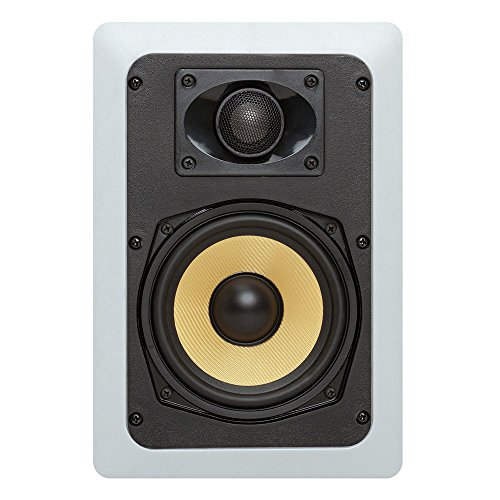"Cmple - Premium In-Wall/In-Ceiling 5.25"" Speakers 2-Way Surround Sound, Kevlar Speakers Suitable for use in Humid Indoor/Outdoor areas - Bathroom, Kitchen (White, Paintable Grille, Rectangular, Pair)"