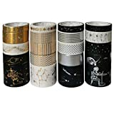 20 Rolls Vintage Washi Masking Tape Set Constellation Planet Star Geometric Lines Adhesive Label for Arts Crafts Scrapbooking Planners Journals Diary Books Letter DIY Project