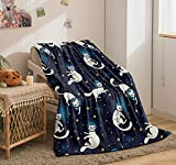 Bedbay Space Cats Blanket Stars Sherpa Fleece Blanket Blue Galaxy and Astronaut Cat Design Boys Girls Blanket Soft Warm Bed Couch Blanket Cat Blanket for Cat Lovers(Space Cats, Twin(60'x80'))