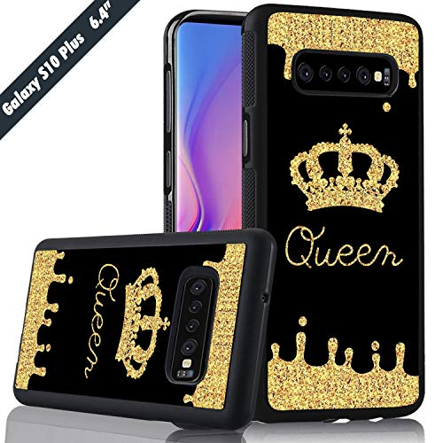 Golden Queen Crown Pattern Phone Case Samsung Galaxy S10 Plus Cover Shockproof Anti-Skid Tired Tread Protective Case for Samsung Galaxy S10 Plus