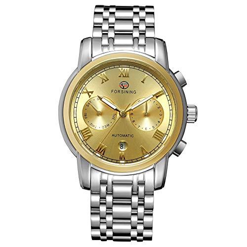 GJHBFUK Reloj de Hombre Moda Negocio De Negocios Analógico Automático Movimiento Mecánico Reloj Dial Oro