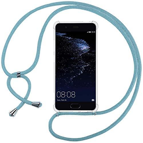 Ingen Funda con Cuerda para Huawei P10 Lite - Carcasa Transparente TPU Silicona Case con Colgante - Azul Claro