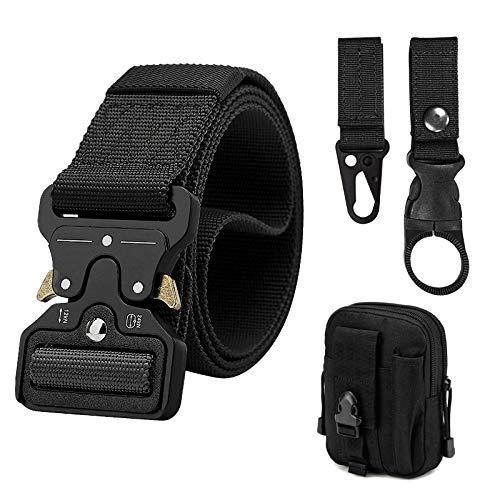XINGGANG Cinturón táctico para hombres, cinturón de alto rendimiento de 1.5 pulgadas, nylon estilo militar, hebilla de metal, liberación rápida, bolsa táctica y gancho