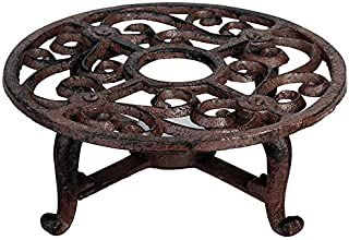 (New Lower Price) - Heavy Cast Iron Round Teapot Warmer, with Elegant Scroll Wor,k with That Old Country Look, Bronze Rustic Color Finish, Uses 1 Tea Candle - Not Included