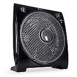 TECVANCE TV-0481 Ventilador de Caja – Box Fan-Extra Silencioso y Potente-4 Velocidades – Temporizador – 32cm Diámetro, Negro, 44 x 39,4 x 16,4 cm