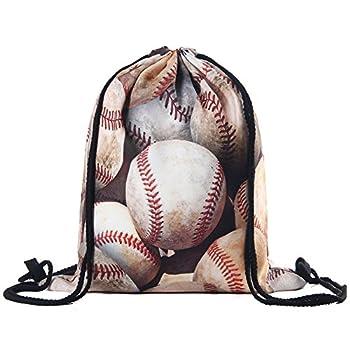 Drawstring Backpack Water Resistant Polyester Gym Bag Baseball Gifts  baseball