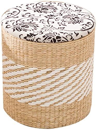 Patchwork Pouf e Piedi Erba Art Storage Sgabello Sgabello per Scarpe in Rattan Sgabello per Trucco, portante 300 g, cilindrico, 4 Stili, 2 Dimensioni