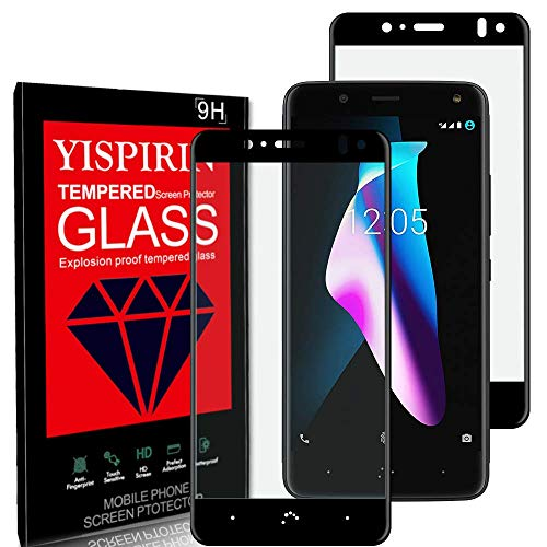 YISPIRIN [2 Piezas] Cristal Templado para BQ AQUARIS V, Dureza 9H, Anti-Rasguño,Cobertura Completa, Vidrio Templado Protector de Pantalla para BQ AQUARIS V (Negro)