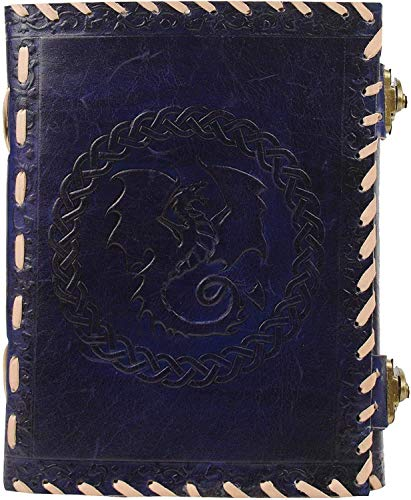 Axuvel 10' Leather Journal Notebook A4 Embossed Game of Thrones Celtic Dragon Handmade Travel Journal/Diary with Lock & Unlined Paper for Writing and Sketching Gift for Men and Women (Navy Blue)