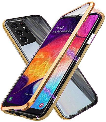 Funda para Samsung Galaxy S21 Ultra 5G, Adsorción Magnética Cubierta Vidrio Templado Frontal y Posterior Flip Case Marco Metal Bumper Funda Anti Choque Protección 360 Grados Carcasa, Oro