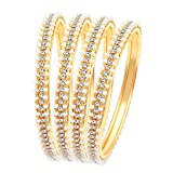 Sukkhi Fascinating Pearl Gold Plated Wedding Jewellery Austrian Diamond Bangles Set of 4 for Women (B71518ADRL550_2.4)