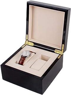 CUUYQ Wooden Watch Display Case Box, Watch Box Cases Watch Storage Case Watch Cabinets Jewelry Storage Organizer,Black_2 Slot