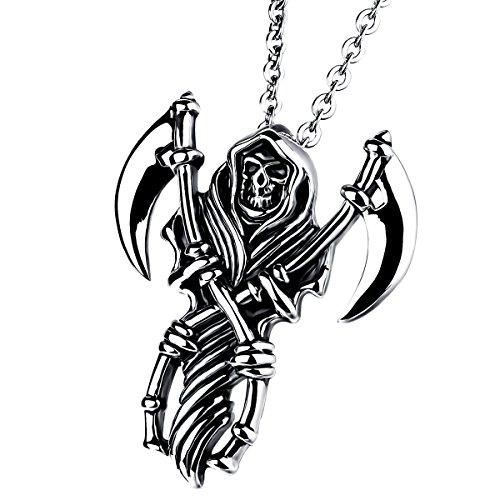 Cupimatch Edelstahl Totenkopf Azrael Sichel Anhänger mit 55cm Kette, Tod Schädel Halskette für Herren, schwarz Silber