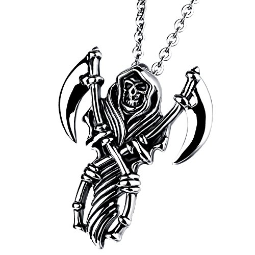 Cupimatch Men Gothic Biker Stainless Steel Death Grim Reaper Skull with Scythe Pendant Necklace with 22' Chain