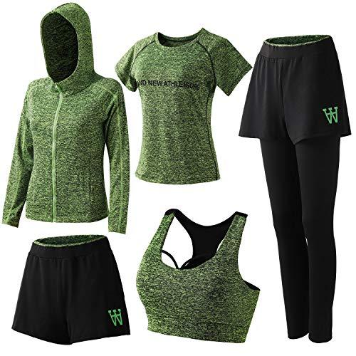 ZETIY Women's 5pcs Sport Suits Fitness Yoga Running Athletic Tracksuits (X-Large, 01-Green)