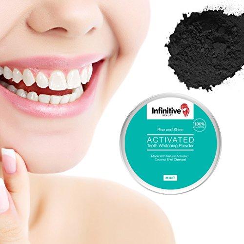 Polvere naturale per lo sbiancamento dei denti con carbone attivo di infiniti Beauty - denti più bianchi in modo significativo, naturalmente