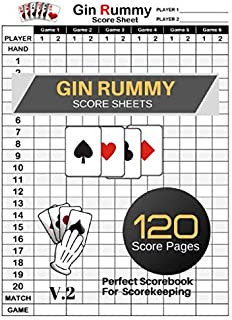 Gin Rummy Score Sheets: Gin Rummy Score Book | Gin Rummy Score Pads | Record Keeper Book | Perfect Scorebook for Scorekeeping | Size 8.5