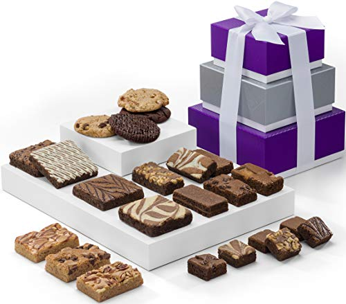 Fairytale Brownies 3-Box Tower Individually Wrapped Gourmet Chocolate Food Gift Basket - Assorted Size Brownies Plus Blondie Bars and Cookies - 23 Pieces - Item RF303