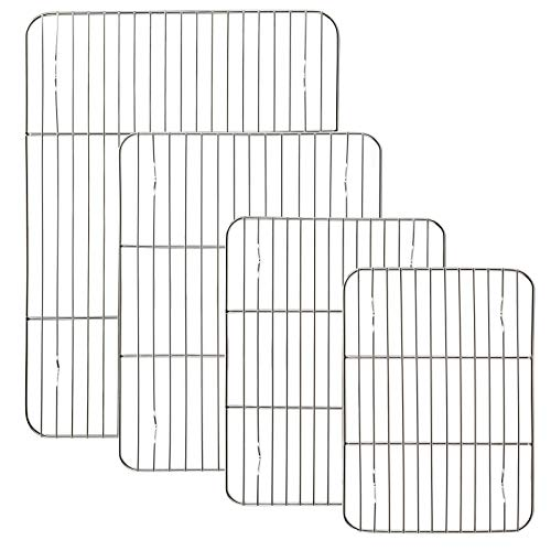 Suwimut 4 Pack Cooling Racks Set, Stainless Steel Baking Racks for Baking, Cooking, Roasting, Grilling, Cooling, Oven Use, Fit Various Size Cookie Sheets, Dishwasher Safe