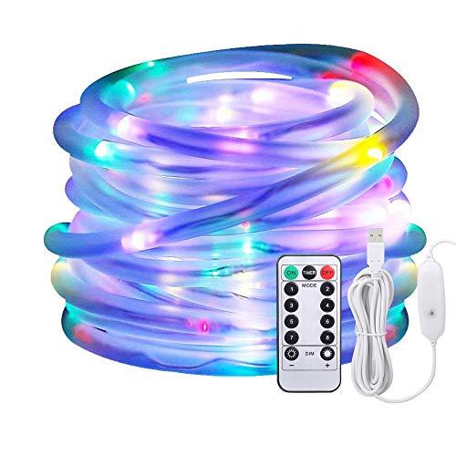 LED Lichtschlauch als Weihnachtsdeko-Afufu 13M 100er Lichterschlauch Bunt Mehrfarbig-Lichterkette Innen und Außen-Lichterkette USB-Wasserdicht IP65-3M Stromkabel-8 Modi Fernbedienbar Lichterketten RGB