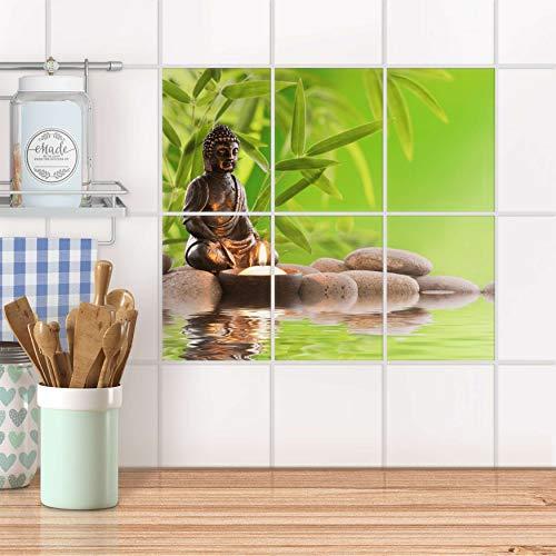 creatisto Fliesenbild für Küche und Bad I Fliesen-Folie Sticker selbstklebend I Fliesen verschönern - Fliesenfolie für Küchen- und Badfliesen I Design: Buddha Zen