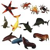Kunststoff PVC Meeres Tiere Modell Kinder Spielzeug 12 Stück Multi Color