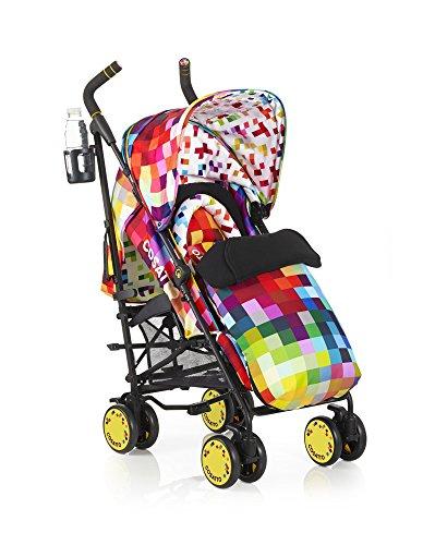 Cosatto Supa Pixelate - Silla de paseo con manillar ajustable, cesta y capota convertible, multicolor