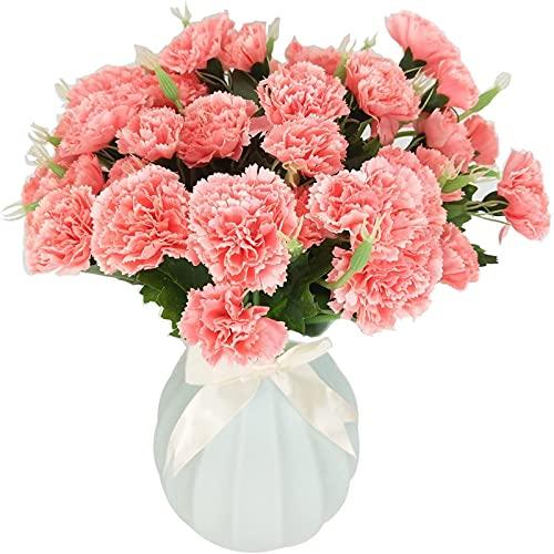 Yyhmkb 4 Pack Best 10 Carnation Head Artificial Carnation Flower Fake Flowers Artificial Silk Bush Artificial Flower Bouquet For Vases Decorationpink