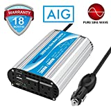 Pure Sine Wave Power Inverter 300Watt Car Adapter Converts 12V DC to 120V AC with 4.8A Dual USB and 2 AC Outlets for Tablets Laptops Smartphones CPAP