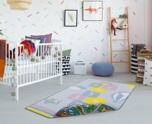 andiamo Spielmatte Kinderteppich Wendeteppich mit Straßen und Hüpfkästchen Motiv, 133 x 190 cm