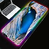 Tappetini Per Il Mouse Rgb Blue Deep Sea Waterfall Scenario Gamer Computer Tappetino Antiscivolo Per Tastiera Pad Per Tastiera (Size_1) 600 * 300 * 4Mm