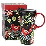 coffee cup bird - CEDAR HOME Coffee Ceramic Mug Porcelain Latte Tea Cup With Lid in Gift Box 17ounce. Cardinal Bird