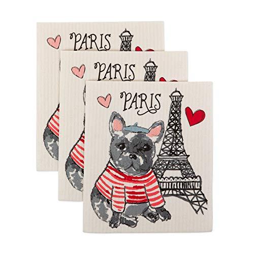 DII Swedish Dishcloth Cleaning Collection, 7.75 x 6.75, Dog in Paris 3 Count