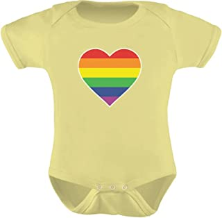 Tstars - Love Pride Gay & Lesbian Rainbow Heart Flag Baby Bodysuit