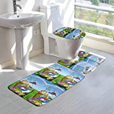 Take Photos Donald Duck Bathroom Rugs Sets 3 Piece Bath Mats Washable U-Shaped Contour Rug, Mat and Lid Cover