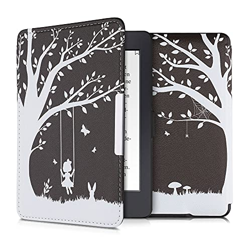 kwmobile Schutzhülle kompatibel mit Amazon Kindle Paperwhite - Hülle Kunstleder eReader (für Modelle bis 2017) - Mädchen Baumschaukel Weiß Schwarz