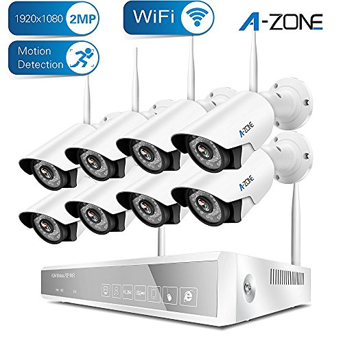 Wireless Security Camera System, A-ZONE 8CH 1080P NVR with 8Pcs 1080P Full HD Indoor Outdoor Weatherproof WiFi IP Cameras 65ft Night Vision,Easy Remote View (No Hard Drive)