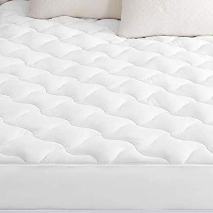 SWTMERRY Mattress Pad Cover Queen Size Hypoallergenic Ultra Soft Quilted Fitted Mattress Protector Fitted Sheet Mattress Cover Antibacterial Breathable -White