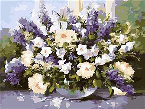 HGDSG Digitales Bild Bild Lavendel Blumen gemalt von einem digitalen Kit auf Einer Leinwand Leinwand gemalt Wandfarbe Geschenk für Erwachsene Kinder (Rahmenlos) 40 x 50 cmMal-Kits