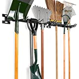 Sunix Heavy Duty Garage Organizer Wall Mount (Holds 300LBS) with 6 Removable Hooks, Shed & Garage Organization, Garden Tool Organizer Storage, Utility Rack, Tool Holder, Broom Organizer (2-Pack)