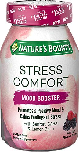 Stress Comfort Gummies by Nature's Bounty, Mood Booster, Dietary Supplement with Saffron, GABA, and Lemon Balm, Calms Feelings of Occasional Stress, Wild Berry Flavor, 36 Gummies