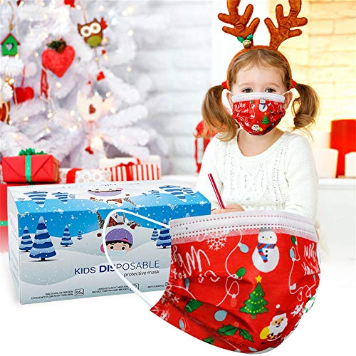 Disposable Christmas Mask for Kids Cute Xmas Masks Disposable Kids 3 Layer Masks with Elastic Earloops Red Christmas Design Disposable Masks for Child School Outdoor