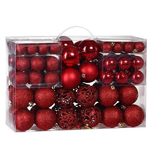 Deuba Weihnachtskugeln Rot 100 Christbaumschmuck Aufhänger Christbaumkugeln für den Weihnachtsbaum Weihnachtsbaumschmuck Weihnachtsbaumkugeln