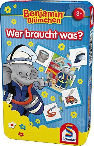 Schmidt Spiele 51408 The Elephant Benjamin Blümchen, Wer braucht was, Bring Mich mit Spiel in der Metalldose