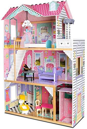 leomark Apartamento, Casa delle Bambole - Lampade LED con Telecomando - casetta in Legno per Bambini, Mobili e Accessori, Rosa, Altezza: 121 cm
